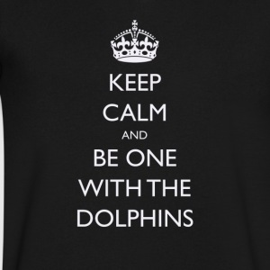 Keep Calm and Be One With The Dolphins Tshirts - Men's V-Neck T-Shirt by Canvas