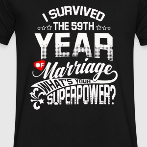 Cadeau d'anniversaire 59th 59 Years Wedding Marriage - T-shirt avec encolure en V pour hommes