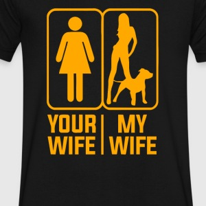 YOUR WIFE MY WIFE LOVE DOGS - Men's V-Neck T-Shirt by Canvas