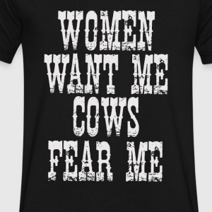 Cows Fear Me - Men's V-Neck T-Shirt by Canvas