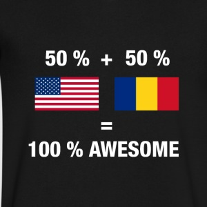 Half Romanian Half American 100% Awesome Flag Roma - Men's V-Neck T-Shirt by Canvas