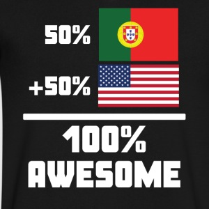 50% Portuguese 50% American 100% Awesome Flag - Men's V-Neck T-Shirt by Canvas