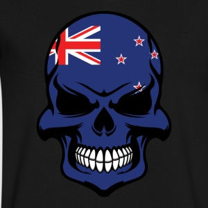 Kiwi Flag Skull Cool New Zealand Skull - Men's V-Neck T-Shirt by Canvas