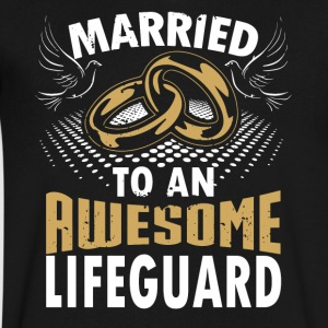 Married To An Awesome Lifeguard - Men's V-Neck T-Shirt by Canvas