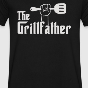 The Grillfather Apron - Men's V-Neck T-Shirt by Canvas