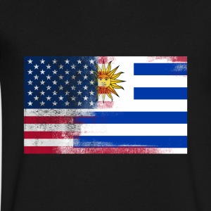 Uruguayan American Half Uruguay Half America Flag - Men's V-Neck T-Shirt by Canvas