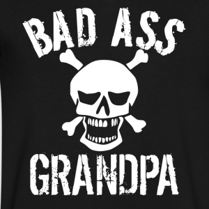 Bad Ass Grandpa Skull Grandparents Day - Men's V-Neck T-Shirt by Canvas