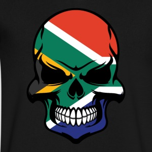 South African Flag Skull Cool South Africa Skull - Men's V-Neck T-Shirt by Canvas