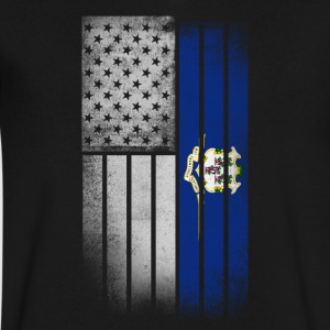 USA Vintage Connecticut State Flag - Men's V-Neck T-Shirt by Canvas