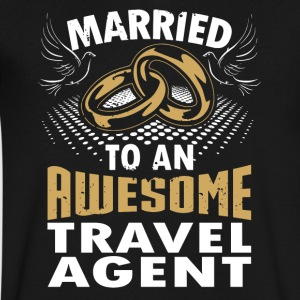 Married To An Awesome Travel Agent - Men's V-Neck T-Shirt by Canvas