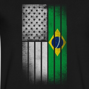 Brazilian American Flag - Men's V-Neck T-Shirt by Canvas