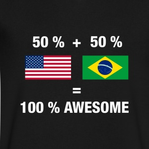 Half Brazilian Half American 100% Awesome Flag Bra - Men's V-Neck T-Shirt by Canvas