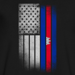 Cambodian American Flag - Men's V-Neck T-Shirt by Canvas