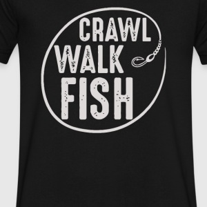 Crawl Walk Fish - Men's V-Neck T-Shirt by Canvas