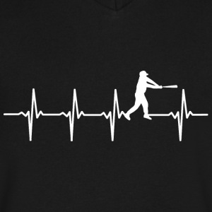 Baseball - Heartbeat - Men's V-Neck T-Shirt by Canvas