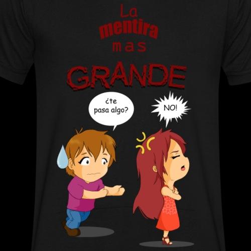 La Mentira mas Grande - Men's V-Neck T-Shirt by Canvas