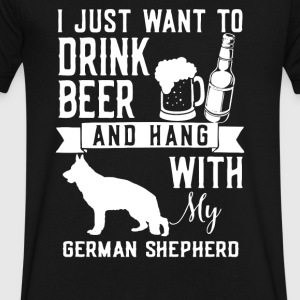 I Just Want To Drink Beer and Hang With My GERMAN - Men's V-Neck T-Shirt by Canvas