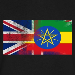 British Ethiopian Half Ethiopia Half UK Flag - Men's V-Neck T-Shirt by Canvas