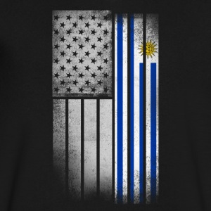 Uruguayan American Flag - Men's V-Neck T-Shirt by Canvas