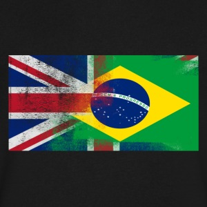 British Brazilian Half Brazil Half UK Flag - Men's V-Neck T-Shirt by Canvas