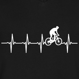 Mountainbike - Heartbeat - Men's V-Neck T-Shirt by Canvas