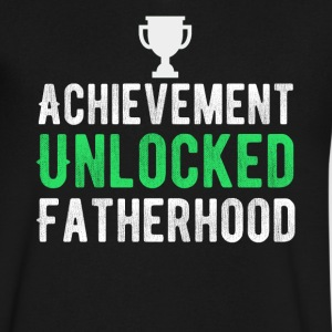 Achievement Unlocked Fatherhood T-Shirt - Men's V-Neck T-Shirt by Canvas