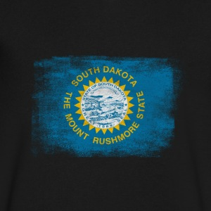 South Daktota State Flag Distressed Vintage Shirt - Men's V-Neck T-Shirt by Canvas