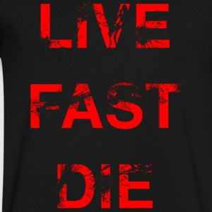 Live Fast Die (Red) - Men's V-Neck T-Shirt by Canvas