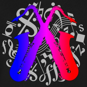 crossed saxophones on music notes - Men's V-Neck T-Shirt by Canvas