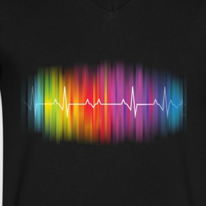Gay Pride Heartbeat - Men's V-Neck T-Shirt by Canvas