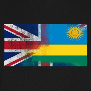 British Rwandan Half Rwanda Half UK Flag - Men's V-Neck T-Shirt by Canvas