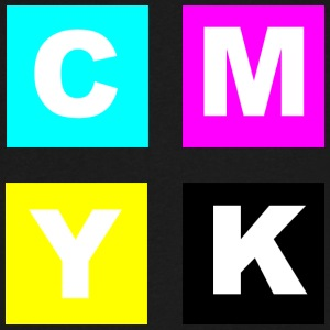 CMYK Color Squares with Key Black - Men's V-Neck T-Shirt by Canvas