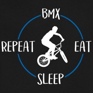 BMX, Eat, Sleep, Repeat - Men's V-Neck T-Shirt by Canvas