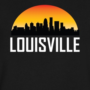 Sunset Skyline Silhouette of Louisville KY - Men's V-Neck T-Shirt by Canvas