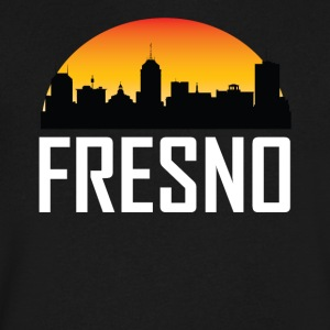 Sunset Skyline Silhouette of Fresno CA - Men's V-Neck T-Shirt by Canvas
