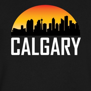 Sunset Skyline Silhouette of Calgary AB - Men's V-Neck T-Shirt by Canvas