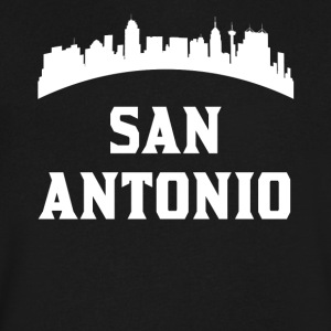 Vintage Style Skyline Of San Antonio TX - Men's V-Neck T-Shirt by Canvas
