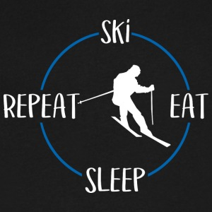 Ski, Eat, Sleep, Repeat - Men's V-Neck T-Shirt by Canvas