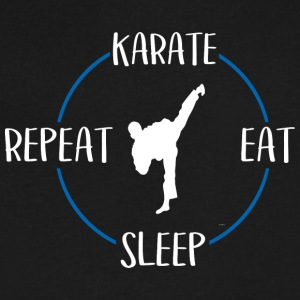 Karate, Eat, Sleep, Repeat - Men's V-Neck T-Shirt by Canvas