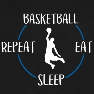 Basketball, Eat, Sleep, Repeat - Men's V-Neck T-Shirt by Canvas