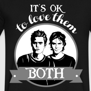 TVD. It's OK to love them both. - Men's V-Neck T-Shirt by Canvas