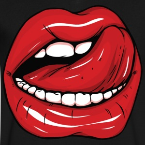 Sexy red lips and tongue - Men's V-Neck T-Shirt by Canvas