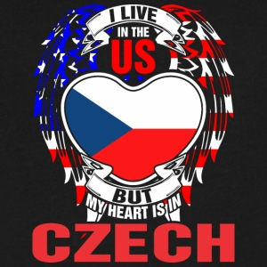 I Live In The Us But My Heart Is In Czech - Men's V-Neck T-Shirt by Canvas