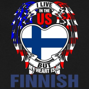 I Live In The Us But My Heart Is In Finnish - Men's V-Neck T-Shirt by Canvas