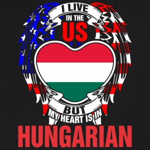 I Live In The Us But My Heart Is In Hungarian - Men's V-Neck T-Shirt by Canvas