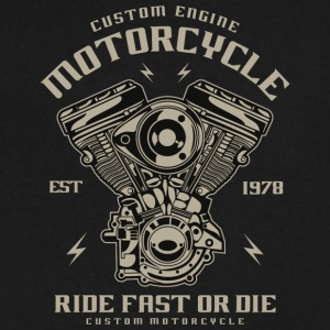 Custom Engine Motorcycle - Men's V-Neck T-Shirt by Canvas