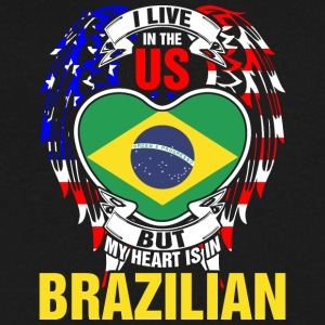 I Live In The Us But My Heart Is In Brazilian - Men's V-Neck T-Shirt by Canvas