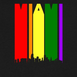 Miami Florida Rainbow Skyline LGBT Gay Pride - Men's V-Neck T-Shirt by Canvas