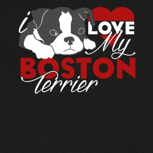 Love My Boston Terrier Shirt - Men's V-Neck T-Shirt by Canvas