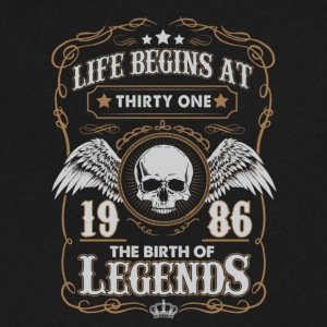 Life Begins At 1986 31 Years Old Birthday T-Shirt - Men's V-Neck T-Shirt by Canvas